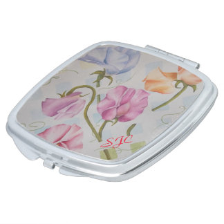 COLORFUL SWEET PEAS MONOGRAMED COMPACT MIRROR