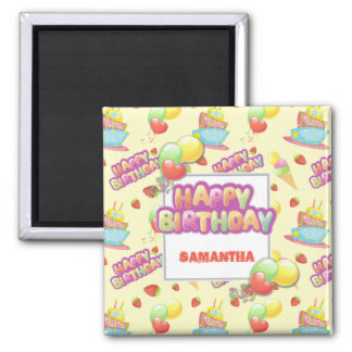 Colorful Sweets Birthday Square Magnet