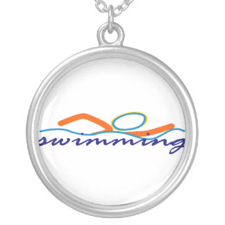Colorful Swim Symbol Silver Plated Necklace