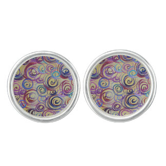 Colorful Swirl Abstract Cuff Links