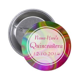 Colorful Swirl Design Quinceanera. Pinback Button