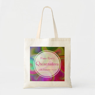 Colorful Swirl Design Quinceanera. Budget Tote Bag