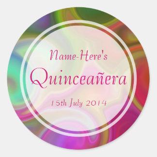 Colorful Swirl Design Quinceanera Classic Round Sticker