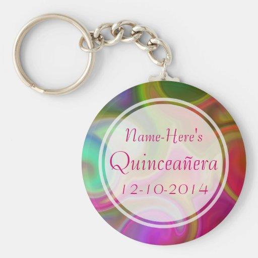 Colorful Swirl Design Quinceanera. Keychain