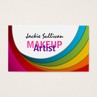 Colorful Swirl Makeup Artist Business Cards