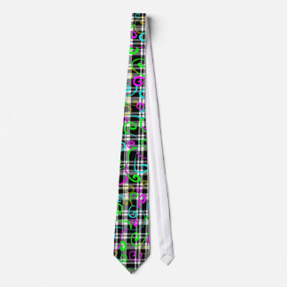 Colorful Swirls on Black and White Plaid Tie