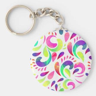 Colorful swirls pattern basic round button key ring