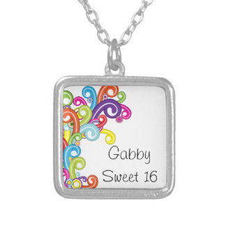 Colorful Swirls Sweet 16 Necklace