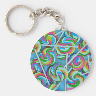 Colorful swirly lollipops pattern basic round button key ring