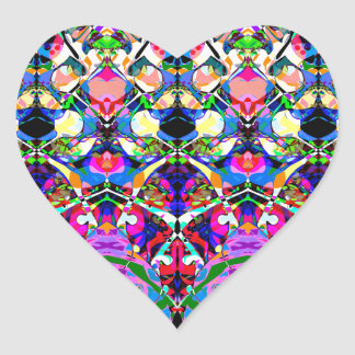 Colorful Symmetrical Abstract Heart Sticker