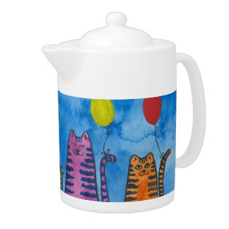 Colorful Tabby Cats with Balloons Teapot