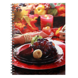 Colorful table decorated for Thanksgiving Spiral Note Book