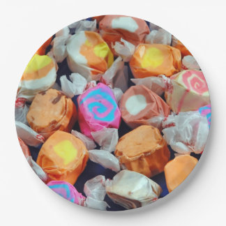 Colorful taffy candy paper plate