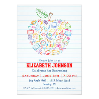 Colorful Teachers Apple Retirement Party Invite