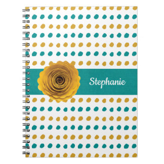 Colorful Teal and Gold Polka Dots Personalized Notebook