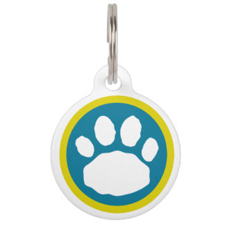 Colorful Teal and Purple Animal Paw Print Pet Name Tag