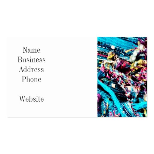 Colorful Teal Turquoise Pink Yarn Threads Craft Business Card Template