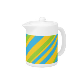 Colorful Teapot: Turquoise, Yellow, Green Stripes