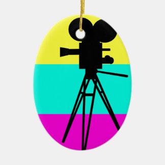 Colorful Technicolor Camera Silhouette Ornament