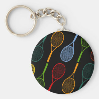 colorful tennis rackets pattern basic round button key ring