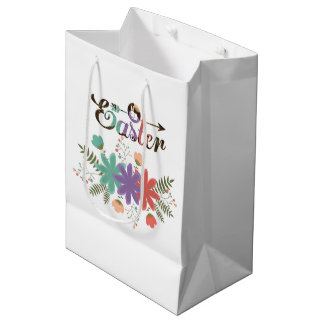 Colorful Text Easter And Colorful Flowers Medium Gift Bag