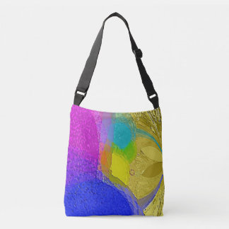 """Colorful Texture Mix"" on a cross body tote bag"