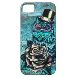Colorful textured owl illustration on teal base. iPhone 5 covers