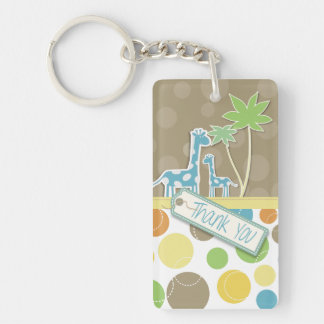 Colorful thank you giraffe and tree keyrings Single-Sided rectangular acrylic keychain