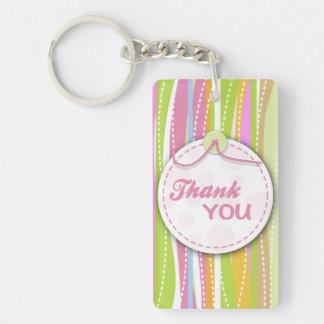 Colorful thank you keyrings Single-Sided rectangular acrylic key ring