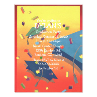 Colorful theme graduation party flyer invitations