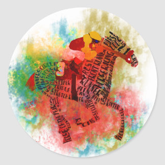 Colorful Thoroughbred in Typography Classic Round Sticker