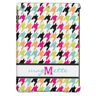 Colorful Thousand Birds Houndstooth Monogram iPad Air Cover