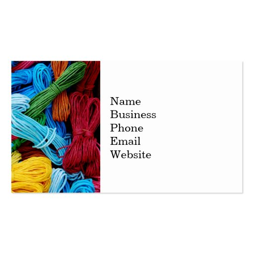 Colorful Thread Teal Purple Yellow Red Sewing Gift Business Card Template