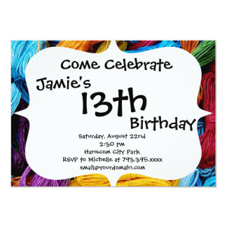 Colorful Thread Teal Purple Yellow Red Sewing Gift Invitation