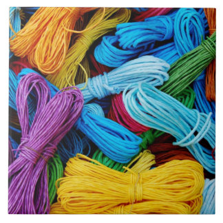 Colorful Thread Teal Purple Yellow Red Sewing Gift Ceramic Tiles