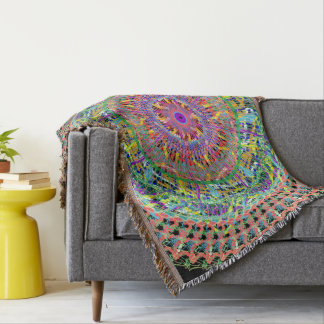 Colorful throw cover with geometric design