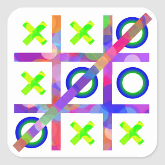 Colorful Tic Tac Toe Square Sticker