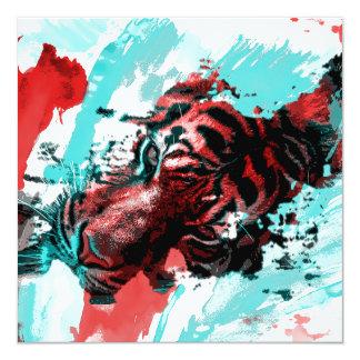 Colorful Tiger Animal 13 Cm X 13 Cm Square Invitation Card