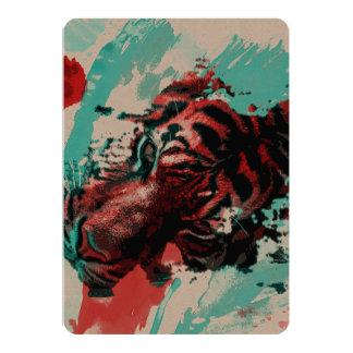 Colorful Tiger Animal 13 Cm X 18 Cm Invitation Card