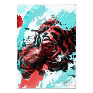 Colorful Tiger Animal 9 Cm X 13 Cm Invitation Card