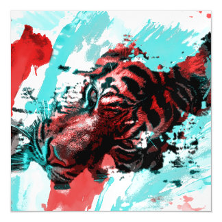 Colorful Tiger Animal Magnetic Invitations