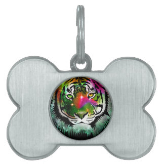 Colorful Tiger Animal Pet Name Tag