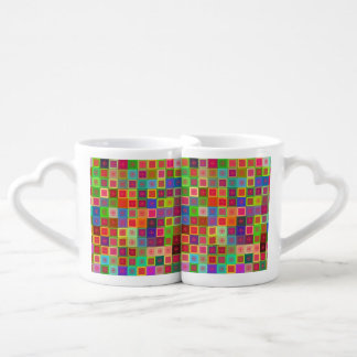 Colorful tiles and stars coffee mug set