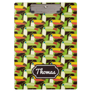 Colorful Toucans   Add Your Name Clipboard