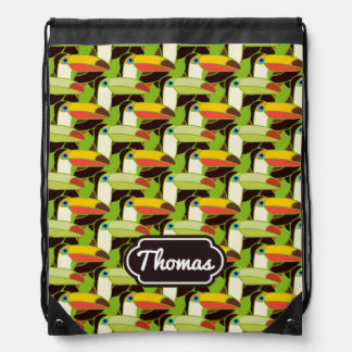 Colorful Toucans | Add Your Name Drawstring Bag