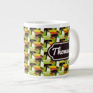 Colorful Toucans | Add Your Name Large Coffee Mug