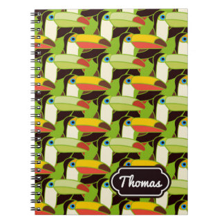 Colorful Toucans | Add Your Name Spiral Notebook
