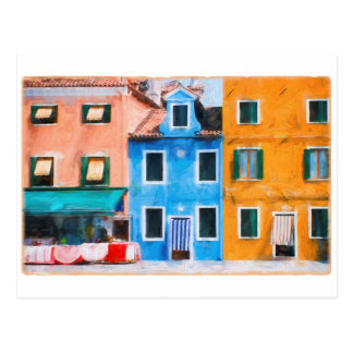Colorful Town Burano Italy Postcard
