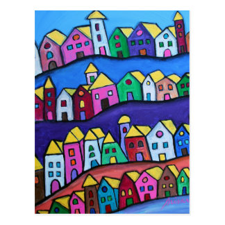 COLORFUL TOWN by Prisarts Postcard