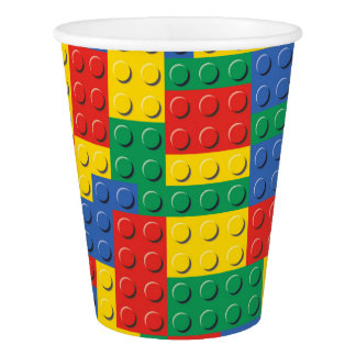 Colorful Toy Building Blocks Background Pattern Paper Cup